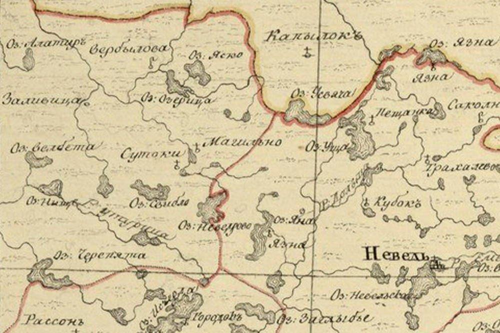 Карта Себежского района 1772 года